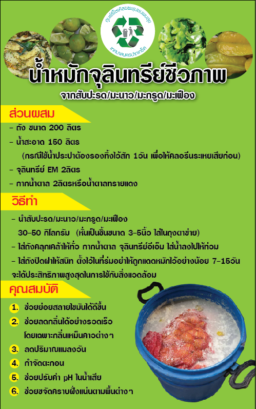 น้ำหมักจุลินทรีย์ชีวภาพ จาก เปลือกมะนาว เปลือกสับปะรด มะกรูด มะเฟือง